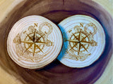 Anchor compass wood coaster