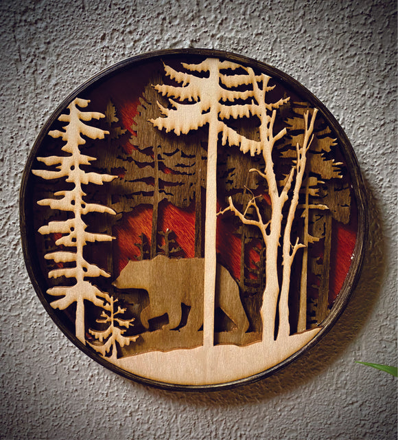 Bear in the woods 3D wall hanging art
