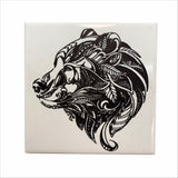 Bear head ceramic coaster