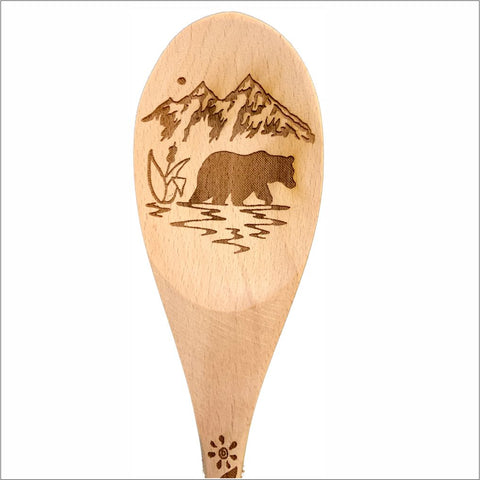 Bear mountains natural wood spoon serving cooking utensil