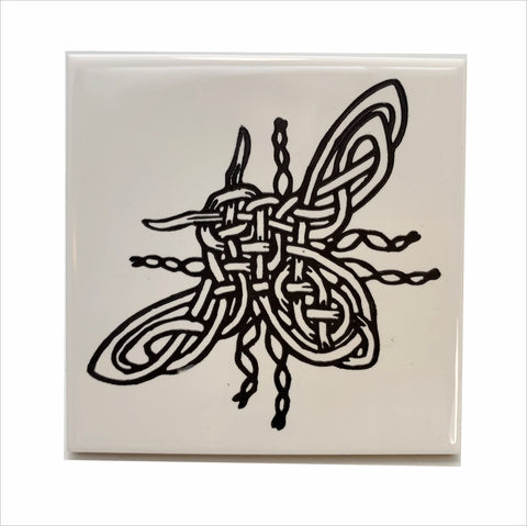Bee knotty ceramic coaster