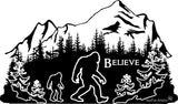 Bigfoot in a mountains shadow custom engraved cutting board