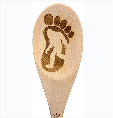 Bigfoot print natural wood spoon serving cooking utensil
