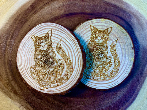 Cat wood coaster