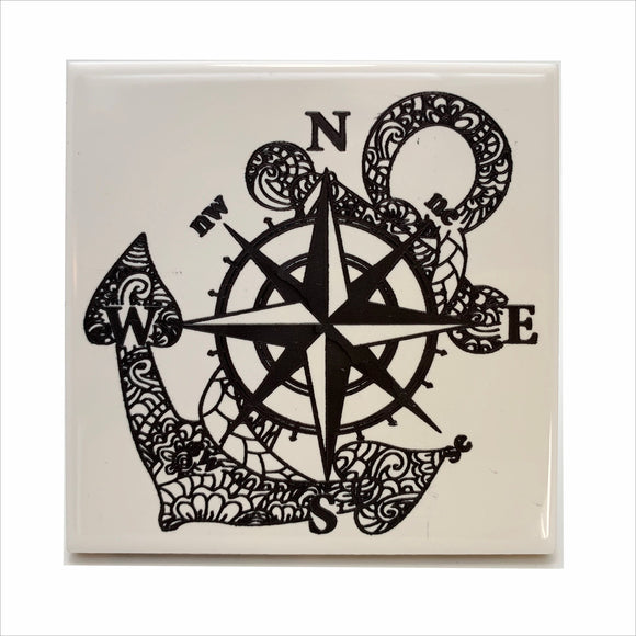 Compass and anchor ceramic coaster