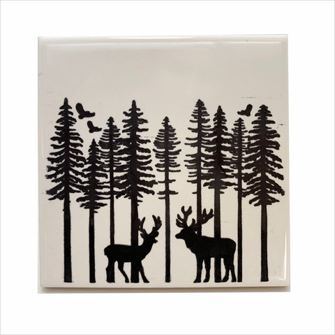 Deer in the woods ceramic coaster