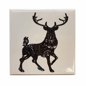 Deer standing ceramic coaster