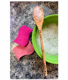 Chicken and rooster natural wood spoon serving cooking utensil