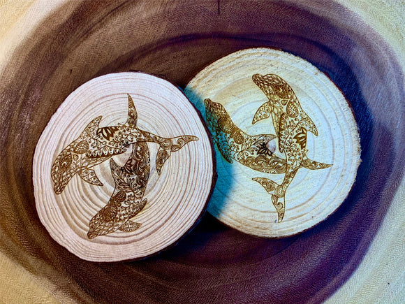 Dolphins swimming wood coaster