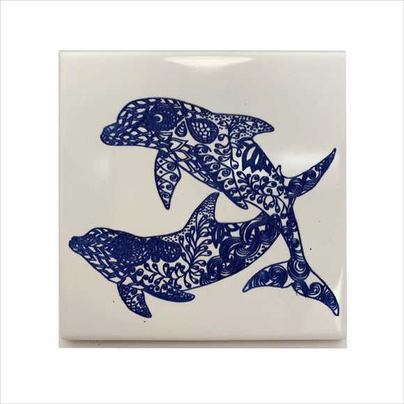 Dolphins swimming ceramic coaster
