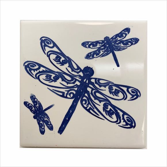 Dragonflys in motion color blue ceramic coaster