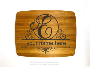 Monogram letter E personalized name bamboo custom engraved cutting board