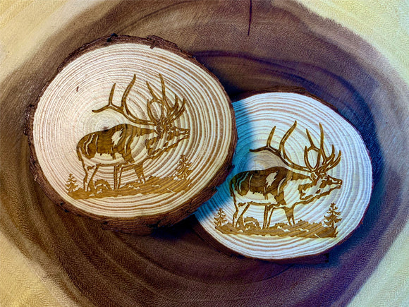 Elk wood coaster