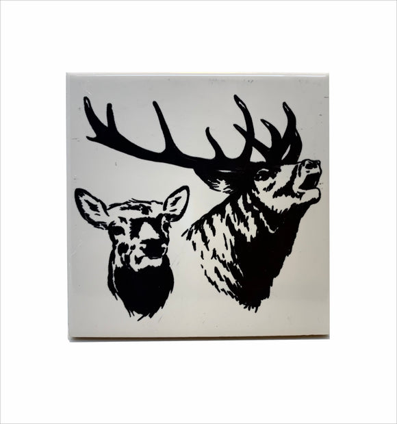 Elk bull and a cow ceramic coaster