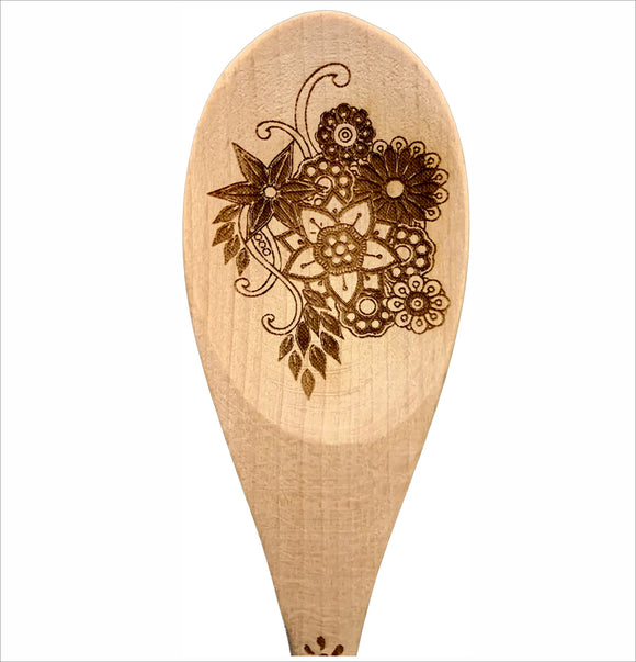 Flower bouquet natural wood spoon serving cooking utensil