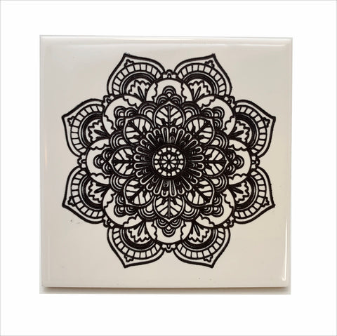 Flower mosaic ceramic coaster