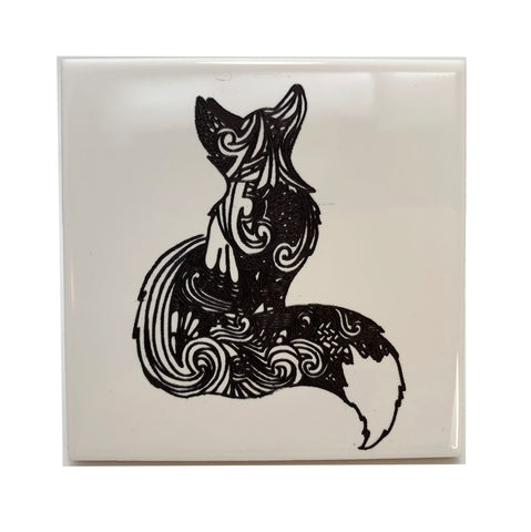Fox sitting ceramic coaster