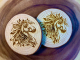 Horse head with feathers wood coaster