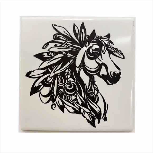 Spirit horse head ceramic coaster