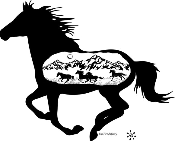 Horse with silhouette mountain view bamboo custom engraved cutting board