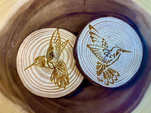 Hummingbirds wood coaster