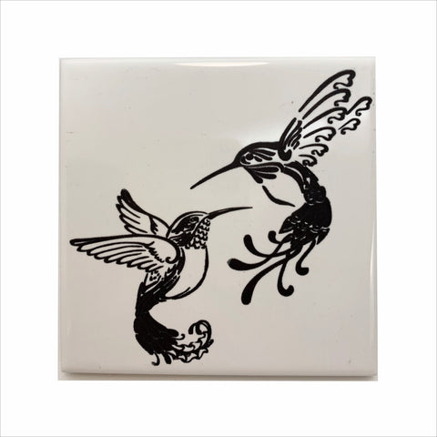 Elegant hummingbirds ceramic coaster