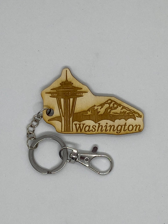 Seattle space needle and Mt Rainier keychain wood engraved stainless steel ring with clasp