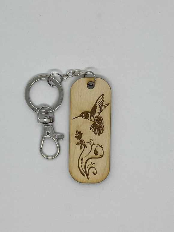 Hummingbird keychain wood engraved stainless steel ring with clasp