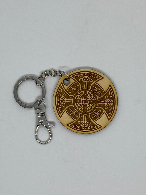 Celtic cross keychain wood engraved stainless steel ring with clasp