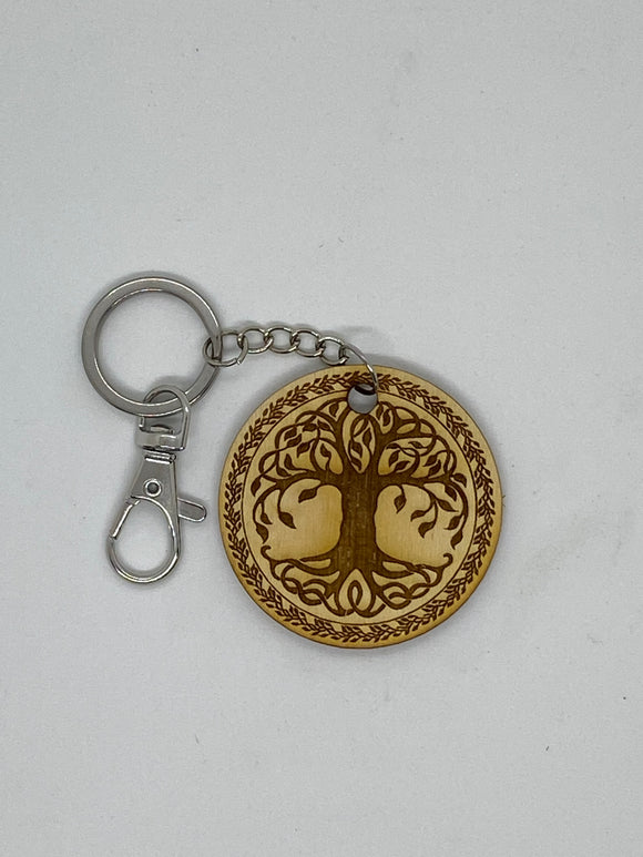 Tree of life custom keychain wood engraved stainless steel ring with clasp