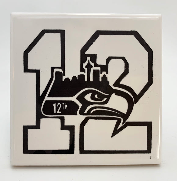 12th man ceramic coaster