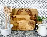 Wolf under the stars bamboo custom engraved cutting board