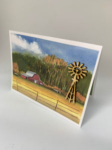 Red barn and windmill greeting card