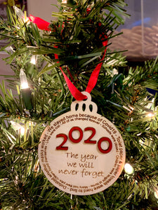 2020 year ornament Covid19 engraved wood hanging tree ornament