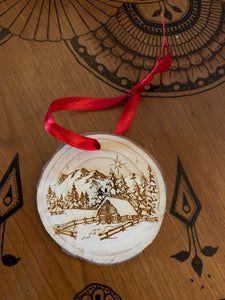 2020 christmas cabin wood hand crafted ornament