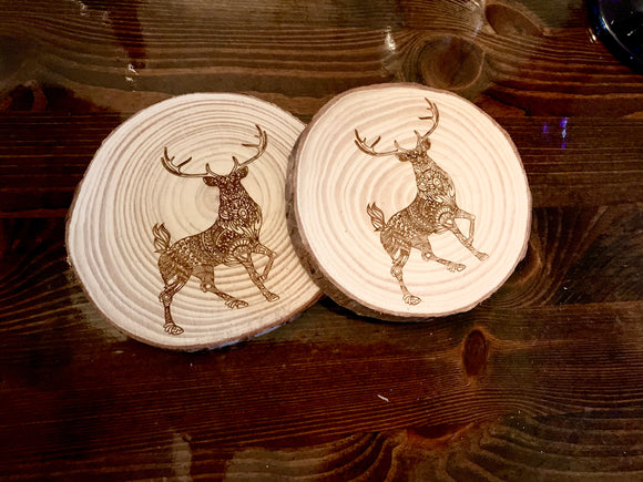 Deer mosaic style wood coaster