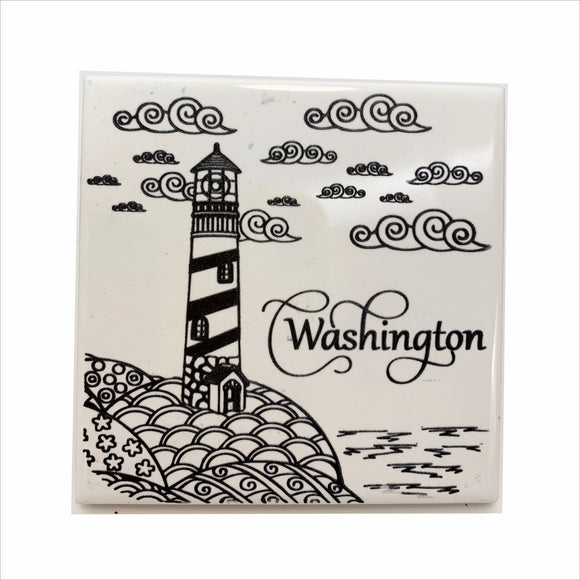 Lighthouse on the coast WA ceramic coaster