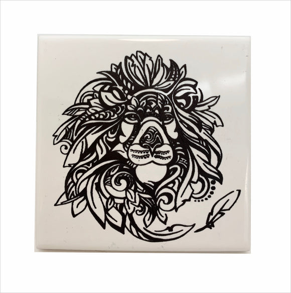 Majestic Lion ceramic coaster