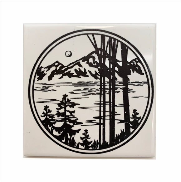 Mountain lake and birch trees ceramic coaster
