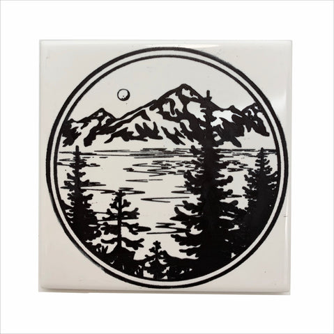 Mountain lake evergreen trees ceramic coaster