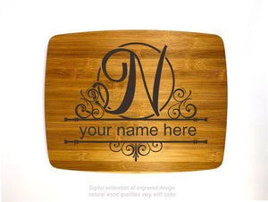 Monogram letter N personalized name bamboo custom engraved cutting board