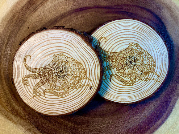 Octopus wood coaster