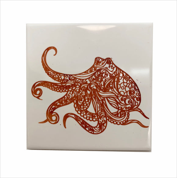 Octopus red color ceramic coaster