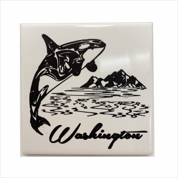 Orca WA mountains ceramic coaster