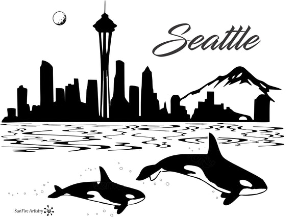 Seattle skyline on the bay with Orca's bamboo custom engraved cutting board