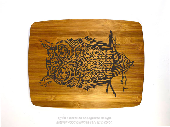 Patient Owl bamboo custom engraved cutting board