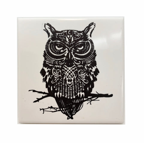 Owl fluffy ceramic coaster