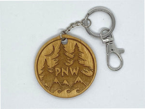 PNW forest and water custom keychain wood engraved stainless steel ring with clasp