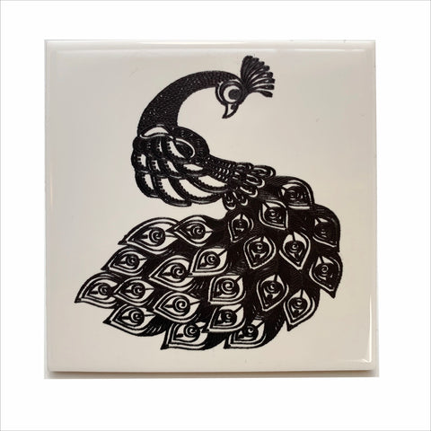 Peacock ceramic coaster