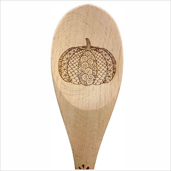 Pumpkin natural wood spoon serving cooking utensil